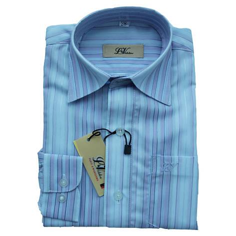 Рубашка с длинным рукавом для мальчика 110 рост приталенная голубая в полоску, фото 2