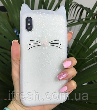 Чехол Котик для iPhone X/XS, белый