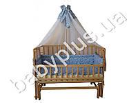 Комплект в детскую кроватку 7 предметов Сладкие сны, Звёздочки, цвет голубой