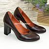Туфли кожаные женские на устойчивом высоком каблуке, цвет коричневый, фото 4