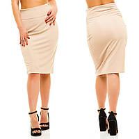 Женская  классическая юбка карандаш трикотажная миди . БАТАЛ