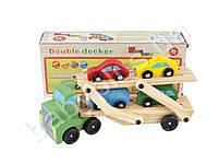 Деревянная игрушка Трейлер, 4 машинки, в кульке
