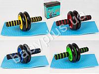 Тренажер, колесо для мышц пресса, 27см, диаметр14см, 4 цвета, в коробке