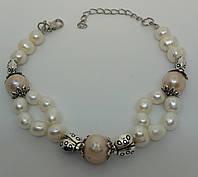 Авторский браслет из белого и розового Жемчуга и люкс фурнитурой