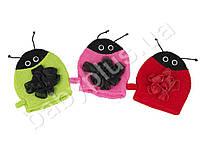 Мочалка перчатка детская Божья коровка, 3 цвета, в кульке