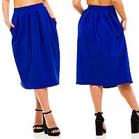 Женская  юбка в складку с потайной молнией в ярких тонах . БАТАЛ