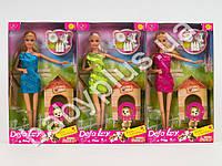 Кукла DEFA с собачкой, миска, косточка, 3 цвета, в кор-ке