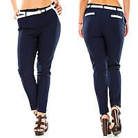 Женские стильные классические прямые брюки с контрастными белыми кармашками и пояском. Батал, фото 1