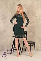 Молодіжне ошатне облягаючу сукню до колін з гіпюру з довгими рукавами темно зеленого кольору