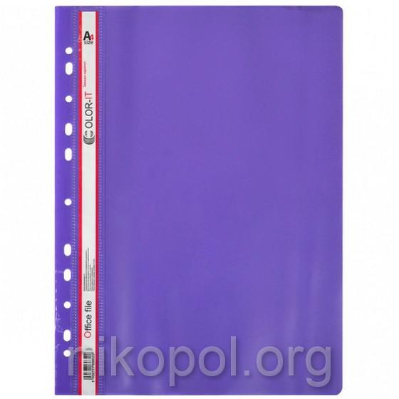 """Скоросшиватель пластиковый """"C"""" с перфорацией А4, фиолетовый"""