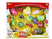 Продукты на липучке, фрукты/овощи, 14шт, досточка, нож, в коробке