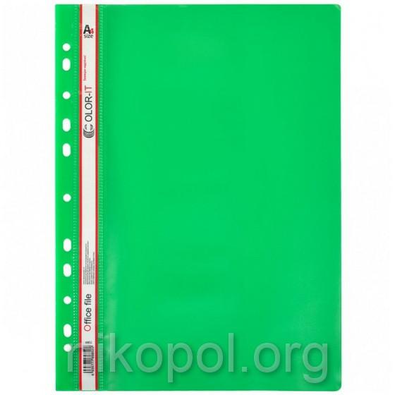 """Скоросшиватель пластиковый """"C"""" с перфорацией А4, зеленый"""