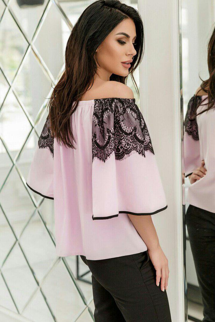 Блузка с расклешенным рукавом, украшена кружевом  / 4 цвета арт 5112-553