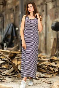 Платье длинное полосатое Totalfit D-2 M Черный с белым