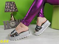 Шлепанцы на высоченной платформе серебро, стильная женская летняя обувь 37, фото 1