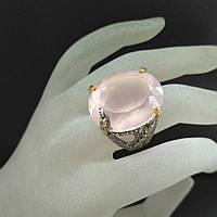 Кольцо серебро 925 пробы розовый кварц, фото 1