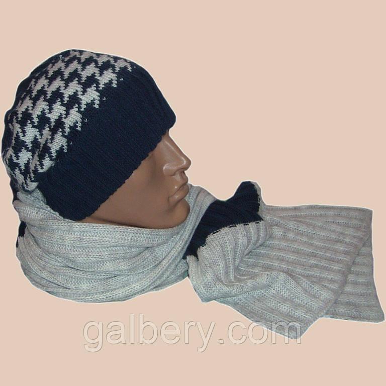 Вязаная мужская шапка с помпном, и шарф с норвежскими орнаментами и шарф