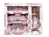 Мебель спальня, кровать 20-25см, 2х-ярусная, кукла 27см, шарнирная, постель, в кор-ке