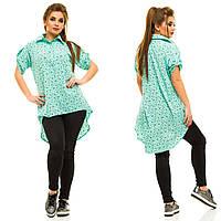 Женская лёгкая рубашка с цветочным принтом, удлинённая сзади. БАТАЛ, фото 1