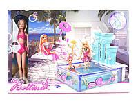 Мебель, бассейн, столик, стульчик, кукла 29см, в коробке