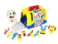 Собака мягкая, 16см, набор парикмахера, в чемодане, в кульке