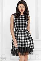 Пышное клетчатое платье