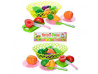 Продукты на липучке, досточка, посуда, корзина, 2 цвета, в кульке