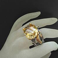 Кольцо серебро 925 пробы цитрин 30 карат, фото 1