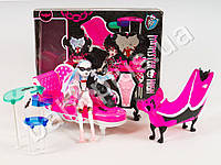 Мебель Monster High, диван, ванна, трюмо, кукла-шарнирная 26см, скелет, в кор-ке