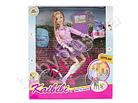 Кукла шарнир, 30см, велосипед 26см, рюкзак, заколочки, в кор-ке