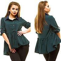 Женская блузка-рубашка разлетайка с контрастным воротником и с воланом, фото 1