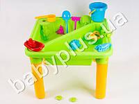 Столик-песочница, ведёрко, лейка, инструменты, пасочки, лодочка, ковшик, в кор-ке