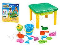 Столик-песочница 60-60-43,5см, ведро, лейка, лопатка, грабли, катер, формоч 6шт, в кор-ке