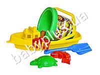 Песочный набор Кораблик №3 (ведро большое, лопатка, грабли и пасочки)