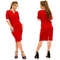Женское платье с контрастным рубашечным воротничком и с разрезом сзади. БАТАЛ , фото 1