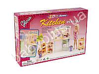 Мебель кухня, мойка, плита, холодильник, продукты, посуда, в кор-ке