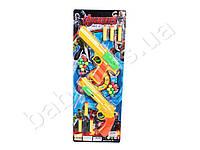Набор оружия Avengers, пистолет 2шт, 25см, пули-присоски 6шт, шарики, мишень, на листе