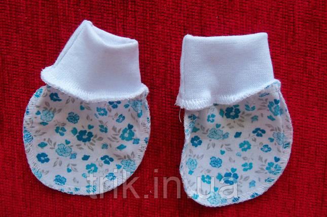 Царапки хлопковые мелкий голубой цветочек, фото 2