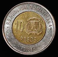 Монета Доминиканской республики 10 песо  2008 год