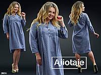 Платье с декоративными застроченными складочками-синяя/белые полоски.