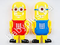 Телефон Миньоны, муз, свет, подвижные руки и ноги, 2 вида, на бат-ке, в кульке