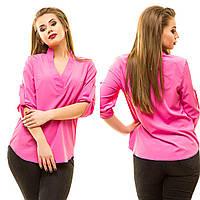 Женская блузка с рукавом 3/4 и V образным вырезом. БАТАЛ, фото 1