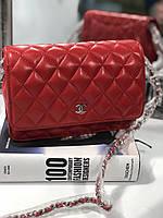 Мини-сумочка Chanel WOC красная гладкая кожа (реплика), фото 1