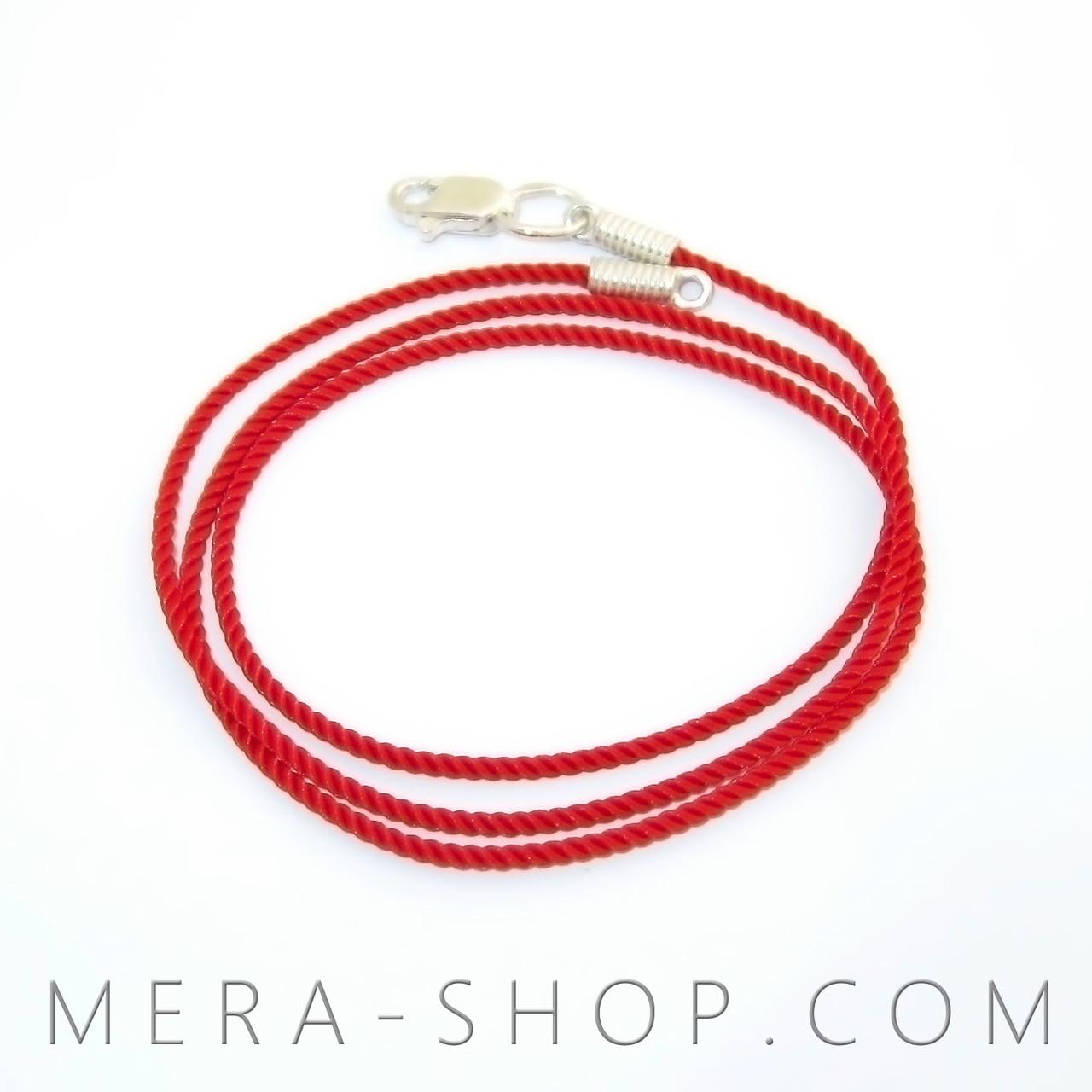 Шёлковый шнурок с серебряным замком (⌀3 мм, красный, любая длина, серебро 925 пробы)