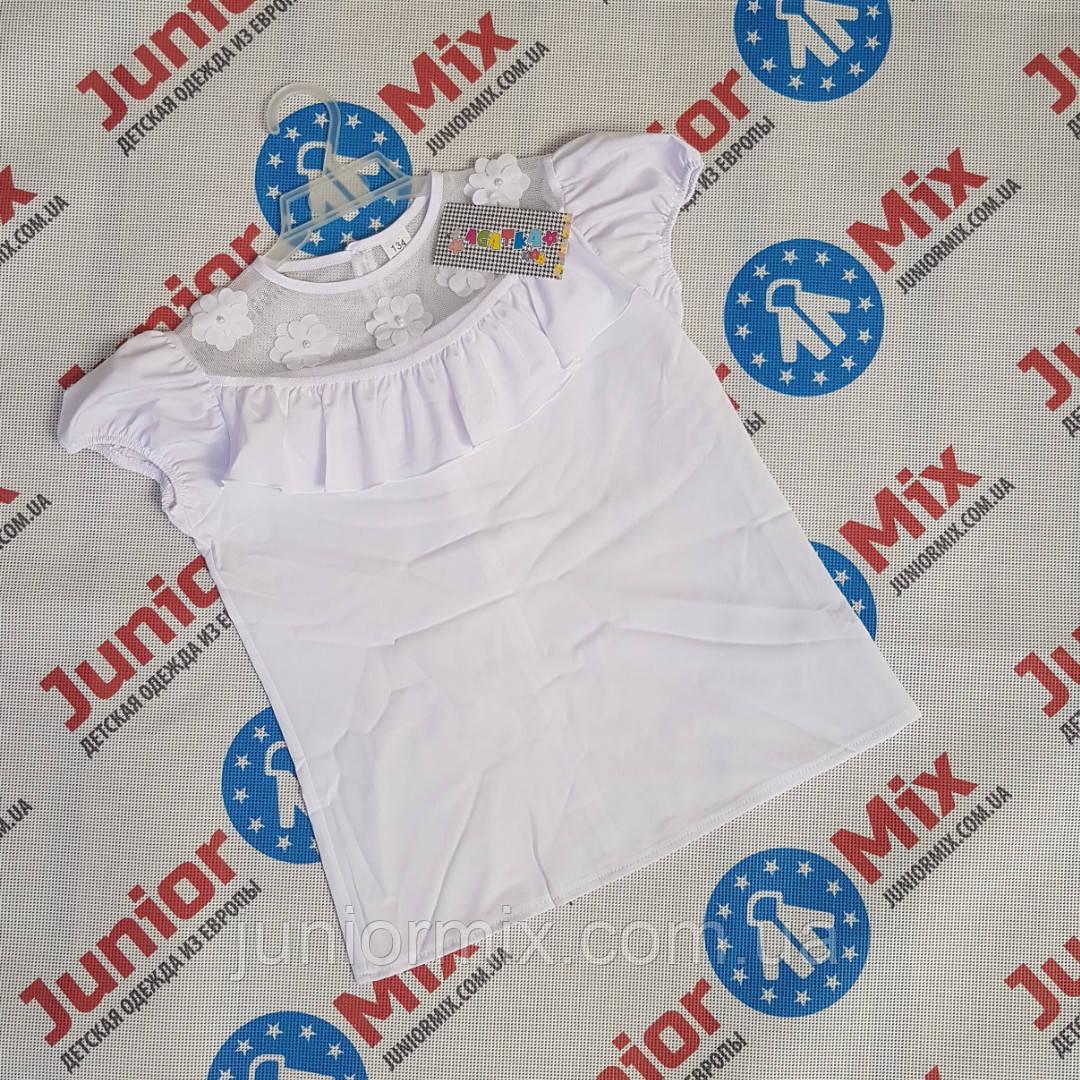 Белая детская школьная блузка для девочек оптом AGATKA