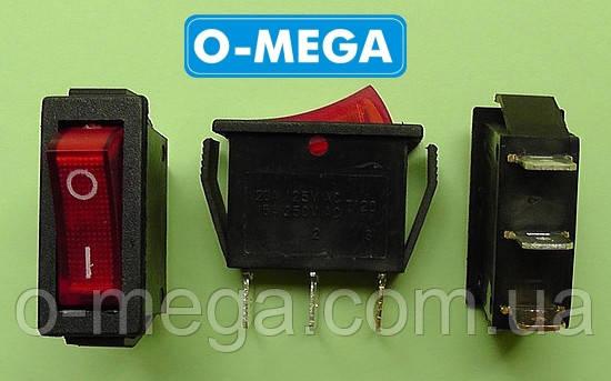 Кнопочный выключатель, Клавиша узкая, с подсветкой, 3 контакта с фиксацией 28,5 * 10,5 мм.