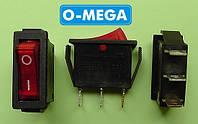 Кнопочный выключатель, Клавиша узкая, с подсветкой, 3 контакта с фиксацией 28,5 * 10,5 мм., фото 1