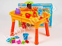Столик-песочница, городок с мельницей, 20 предметов, в кор-ке