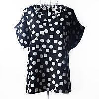 """Блуза с коротким рукавом """"геометрические фигуры на черном"""" Liva Girl"""