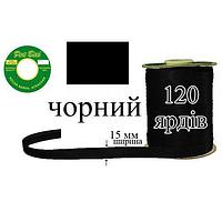 Косая бейка атласная, полиэстер, ширина 15 мм., длина 120 ярдов, 60 катушек в ящике, Черный